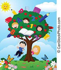 caricatura, niños jugar, en, un, appl