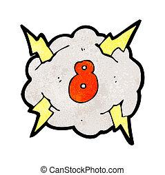 caricatura, nube trueno, con, número 8