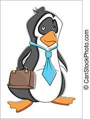 caricatura, oficina, pingüino