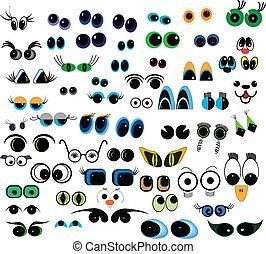 caricatura, ojos, colección, vector