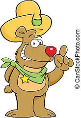 caricatura, oso, en, un, sombrero vaquero, con, un