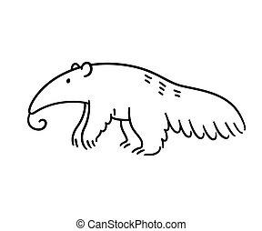 caricatura, oso hormiguero, dibujo