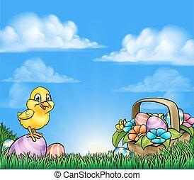 caricatura, ovos páscoa, e, pintinho, fundo