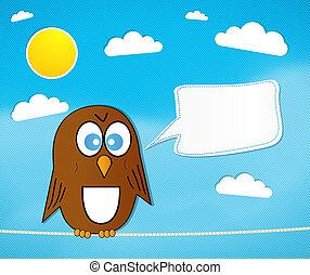 caricatura, pájaro