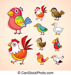 caricatura, pájaro, icono, conjunto