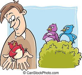 caricatura, pássaro, mão