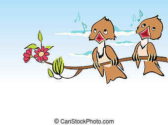 caricatura, pássaros