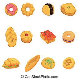caricatura, pão, ícone
