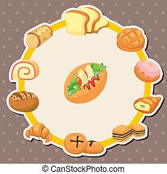 caricatura, pão, cartão