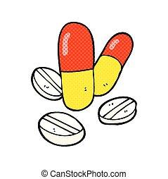 caricatura, píldoras