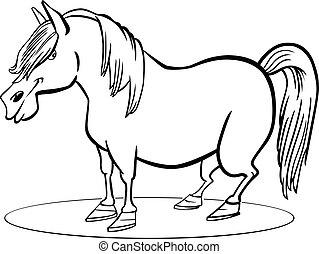 caricatura, pônei, cavalo, coloração, página