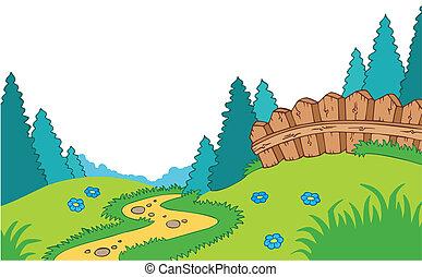 caricatura, país, paisagem