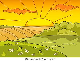 caricatura, paisagem, natureza