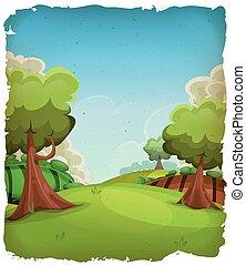 caricatura, paisagem rural, fundo