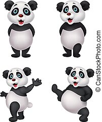 caricatura, panda, colección, conjunto