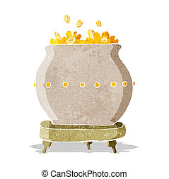 caricatura, panela ouro