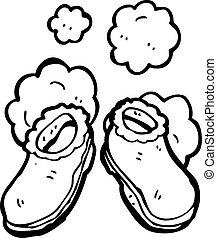 caricatura, pantuflas