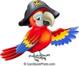 caricatura, papagaio, pirata