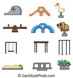 caricatura, parque, pátio recreio, ícone
