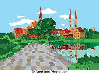 caricatura, parque, perto, a, lago