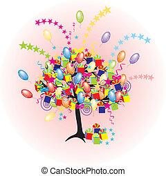 caricatura, partido, árvore, com, bexigas, giftes, caixas, para, feliz, evento, e, feriado