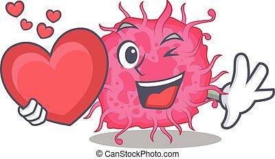 caricatura, pathogenic, doce, bactérias, personagem, estilo, coração