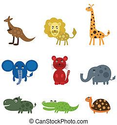 caricatura, película, um, animal