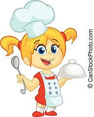caricatura, pequeño, niña, tenencia, un, bandeja, con, un, plato, y, louche., vector, ilustración, de, adolescente, niña, preparando, pavo, y, llevando, upron, y, chef, toque., contorno