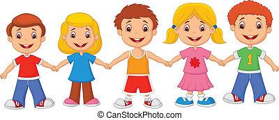 caricatura, pequeno, crianças, han, segurando