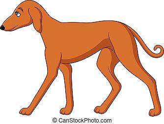 caricatura, perro alto