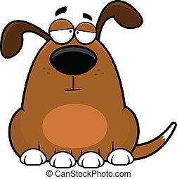 caricatura, perro, divertido, cansado