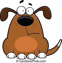 caricatura, perro, divertido, preocupado