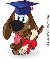 caricatura, perro, graduado