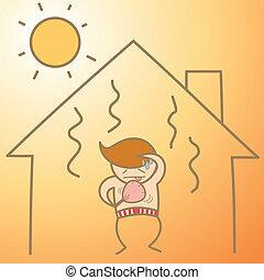caricatura, personagem, de, homem, em, a, calor, casa