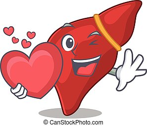caricatura, personagem, estilo, coração, fígado, saudável, ...