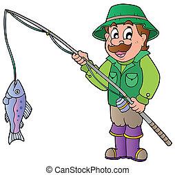 caricatura, pescador, con, barra, y, pez