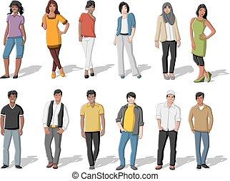caricatura, pessoas, jovem