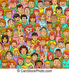 caricatura, pessoas, padrão