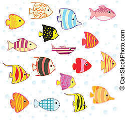 caricatura, pez tropical, conjunto