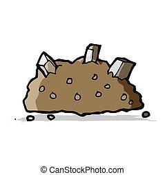 caricatura, pilha, de, rubble