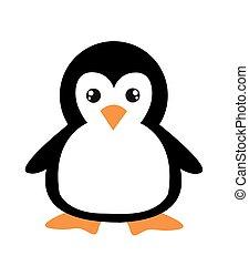caricatura, pingüino, blanco, lindo