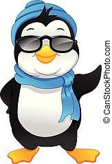 caricatura, pingüino, lindo