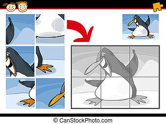 caricatura, pingüino, rompecabezas, juego