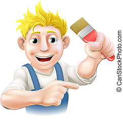 caricatura, pintor, ou, decorador