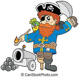 caricatura, pirata, con, cañón