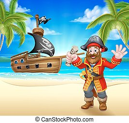caricatura, pirata, en, playa