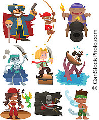 caricatura, pirata, icono, conjunto
