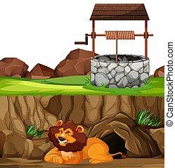 caricatura, plano de fondo, acostado, bien, cueva, parque, ...