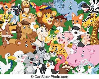 caricatura, plano de fondo, animal