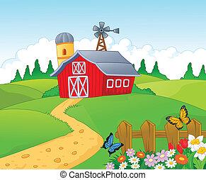 caricatura, plano de fondo, granja